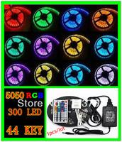 50% off 1pcs /lot  RGB led strip SMD 5050  Waterproof 300 Led Strip Light + 44 Keys IR Remote+12V 5A power supply  free shipping
