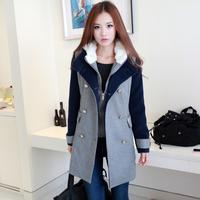 ON Sale promotion 2013 winter twinset medium-long woolen overcoat hat woolen color block woolen outerwear female  Cheap HOT