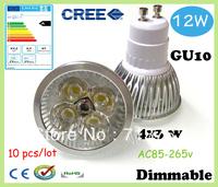 50% off Factory directly sale 10pcs/lot CREE Bulb led bulb GU10 12w 4x3W 110V 220V Dimmable led lamp spotlight free shipping