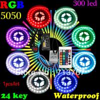 50% 0ff 1pcs /lot  RGB led strip SMD 5050  Waterproof  300 Led Strip Light + 24 Keys IR Remote +12V 5A  Adapter  free shipping
