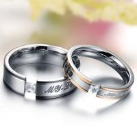 Wholesale Fashion Jewelry Titanium Romantic My Love CZ Diamond Rhinestone Promise Couple Wedding Lovers Rings