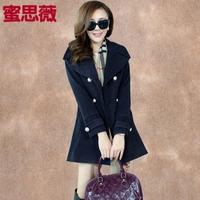 Autumn and winter outerwear gentlewomen preppy style double breasted wool coat woolen outerwear medium-long female
