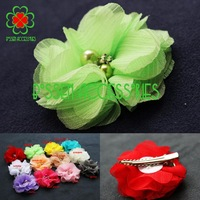 12 colors (100pieces/lot) 2.2 inches hand sew chiffon flower hair clip,baby girls hairpin,children hair accessories