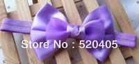Satin Bowknot Solid Fashion Ribbon Bowknot baby headband 4.2 Inch DIY lace Bows Slilk flower Hair made Hair Accessories 24 PCS
