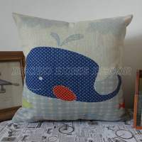 """Free Shipping 18""""x18"""" Light Blue Whale Fish Linen Cushion Cover Hugging Pillow"""