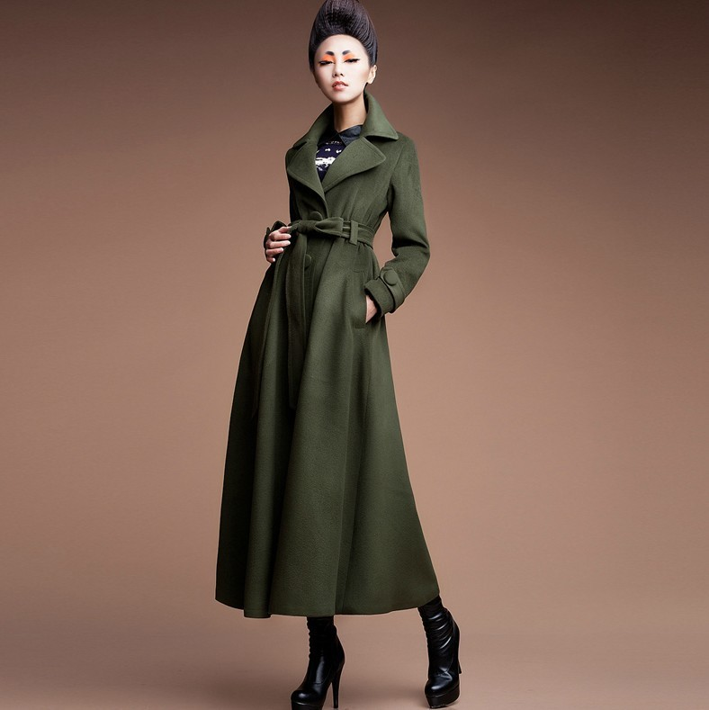 2017 2015 New Fashion Women Wool Jacket Long Trench Coat Ladies