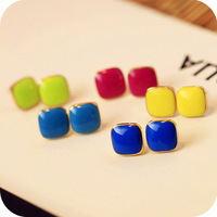 0669 Min order is $8 ( mix order ) Fashion Jewellery Vintage Exaggerated Fluorescence Color Square Stud Earrings