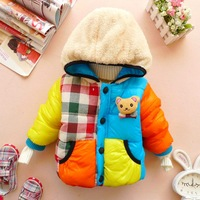 Infant clothes 2013 children's autumn and winter clothing cartoon bear thickening cotton-padded jacket outerwear d078