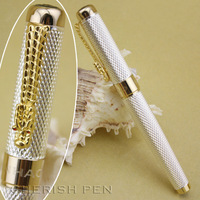 Promation JINHAO 1200 Good Quality Dragon Carved and Silver Body Rollerball/Ball point/Designer/Roller Ball Pen+Free Shipping