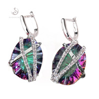 Casual  White Cubic Zirconia  and Rainbow Mystic stone  Fashion  jewelry 925 Silver  Earrings R3314