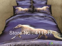 4 PCS all cotton bedding set of bedding bag white horse pentium 3 d animals pattern queen size