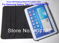Swing Rotating Galaxy Tab 3 10 1 Case 360,Folio Stand PU Cover For Samsung Galaxy Tab3 10.1 P5200 P5210,Free Shipping(20PCS)