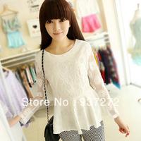 Down to date 2013 autumn women's lace shirt slim all-match shirt top lace basic shirt  free shipping
