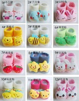 unisex 24 patterns / lot infant baby socks animals patterns doll socks slip modeling socks cotton materal with retail package