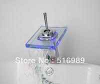 LED  brass ceramic cartridge bathroom  widespread single level mixer fauce water tap light glass3