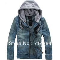 New 2013 Big Size tops cotton Sport Men's Hoodie Jeans Jacket coat outerwear hooded Winter coat denim jacket coat cowboy wear