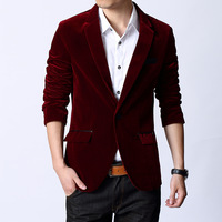 Wine red suit outerwear slim light velvet fabric blazer male business casual suit
