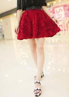 2013 autumn 3d three-dimensional rose lace high waist puff skirt short skirt expansion bottom bust skirt autumn and winter