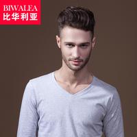Biwalea autumn fashion V-neck male t-shirt long-sleeve T-shirt 100% cotton slim t-shirt men's clothing basic shirt