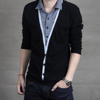 2012 fashionable casual new arrival fashion shirt collar t-shirt male long-sleeve plus size men's