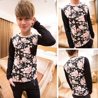 Autumn male t-shirt fashion flower brief william men's clothing long-sleeve T-shirt