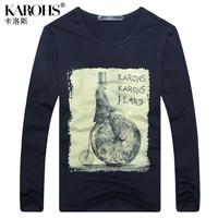 Karohs 2013 autumn male slim long-sleeve T-shirt fashion brief fashion vintage men's clothing top
