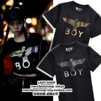 Fashion boy 13 lo don bronzing silver color metal cylinder eagle T-shirt Women male short-sleeve