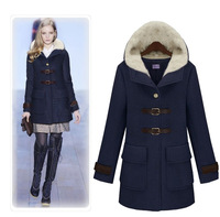 2013 autumn and winter new arrival fashion slim woolen overcoat thickening outerwear female medium-long fur collar plus size