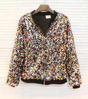 amazing vintage celebrity hiphop blingbling punk reviets paillette sequins women casual jacket sweatshirt outerwear female coat
