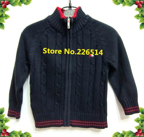 Free Shipping Stock Brand Kids Cheap brand cotton hand knit zipper button down baby boys knitwears(China (Mainland))