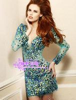 free shipping 2014 new style Fashion dress short design luxury rhinestone crystal V-neck long-sleeve short prom party dresses