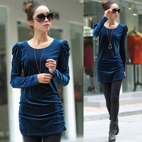 Free Shipping Autumn plus size clothing fashion puff sleeve slim gold velvet long design t-shirt one-piece dress