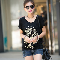 Free Shipping 2013 summer plus size clothing mm slim o-neck loose batwing sleeve short-sleeve T-shirt female