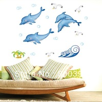 #57102-blue dolphine wall stickers  transparent PVC  Wall stickers sofa three generations wall stickers