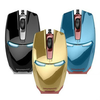 Free Shipping Newman Iron Man Game Mouse Gold Blue Black LED Light Hotest Selling Game Mouse