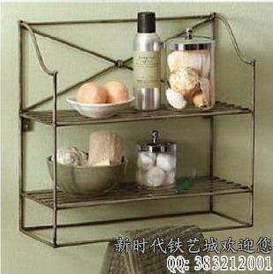 Wrought iron furniture rustic iron kitchen rack shelf wall mount(China (Mainland))