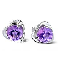 fashion earring pendant earbob Silver stud earring Women 925 pure silver anti-allergic fashion amethyst silver crystal earrings