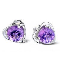 fashion earring pendant earbob Silver stud earring Women 925 pure silver anti-allergic fashion amethyst silver crystal earrings