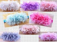 wholesale 24PCS soft silk flower three rows Chiffon puff flower with pearl baby headband 3Inch Hair Accessories elastic headband