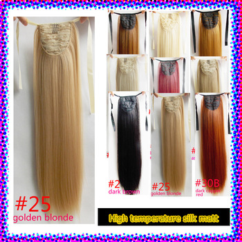"High temperature matt/The lastest Ms. ribbon ponytailon lace hair extensions 22"" 90G FREE SHIPPING #25 golden blonde"