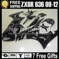 7gifts Fairing For KAWASAKI NINJA ZX6R Glossy black 2009 2010 2011 2012 Q11100 ZX-6R ALL Black ZX636 ZX 6R 636 HOT 09 10 11 12