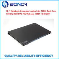 "In stock 14.1"" LED laptop with Intel Atom Dual D2500 1.86Ghz CPU 2GB RAM&320GB HDD DVD-RW 1.3MP webcam HDMI Metal silk shell"