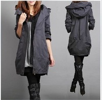 Free Shipping 2013 autumn plus size clothing outerwear mm fashion medium-long trench