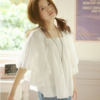 2013 women's plus size cute top shirt cool loose short-sleeve lace chiffon shirt