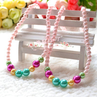 Min $10 Child accessories princess series baby necklace quality multicolour pearl necklace