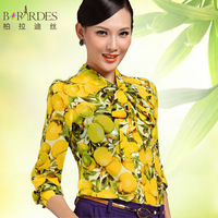 2013 summer print plus size chiffon shirt professional female long-sleeve shirt