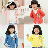 2013 spring and autumn candy bear girls clothing baby child cardigan wt-0607 infantil girl