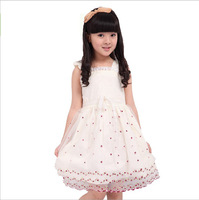 Children's clothing short-sleeve dress princess dress 2013 female child 100% laciness cotton tulle dress