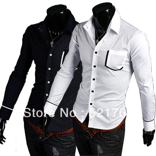 2013 hot sale Free Shipping New Mens Shirts Casual Slim Fit Stylish Mens Dress Shirts(China (Mainland))