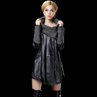 2013 autumn design loose long trench sheepskin female genuine leather clothing 9